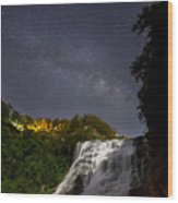 Ithaca Falls By Moonlight Wood Print