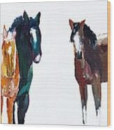 It's All About The Horses Wood Print