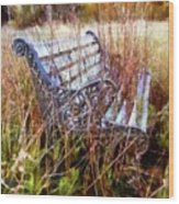 It's Been Awhile - Park Bench Wood Print