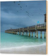 It's Getting Stormy At The Pier Wood Print