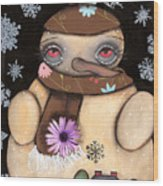It's Snowing Wood Print by  Abril Andrade Griffith