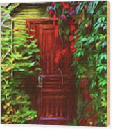 Ivy Surrounded Old Outhouse Wood Print
