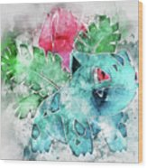 Pokemon Ivysaur Abstract Portrait - By Diana Van Wood Print