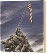 Iwo Jima Flag Raising Wood Print