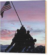 Iwo Jima Memorial In Arlington Virginia Wood Print by Brendan Reals