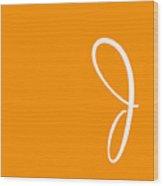 J In White Simple Script Wood Print