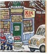 J J Joubert Vintage Milk Truck At Marvin's Grocery Montreal Memories Street Hockey Best Hockey Art Wood Print