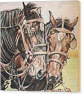 Jack And Joe Hard Workin Horses Wood Print