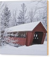 Jack O'lantern Covered Bridge Wood Print