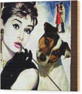 Jack Russell Terrier Art Canvas Print - Breakfast At Tiffany Movie Poster Wood Print