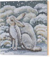 Jackrabbit And Horned Larks Wood Print