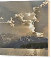 Jackson Lake Sunset View Wood Print