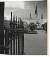 Jackson Square Gate With St. Louis Cathedral And Storm Clouds Wood Print