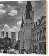 Jackson Square In Black And White Wood Print