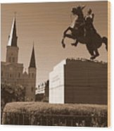 Jackson Square In New Orleans - Sepia Wood Print