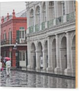 Jackson Square Rainy Day  Wood Print