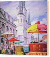 Jackson Square Scene - Painted - Nola Wood Print