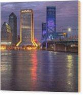 Jacksonville At Dusk Wood Print