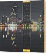 Jacksonville Black Night Lights Wood Print
