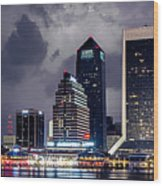 Jacksonville On A Stormy Evening Wood Print by J T