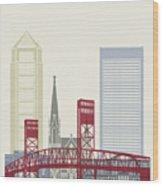 Jacksonville Skyline Poster Wood Print