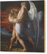 Jacob Wrestling The Angel Wood Print