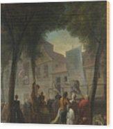 Jacques De Saint Aubin   A Street Show In Paris Wood Print