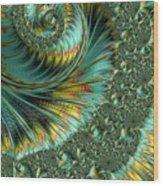 Jade And Yellow Fractal Spiral Wood Print