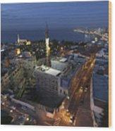 Jaffa At Night Aerial View Wood Print