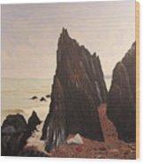 Jagged Rocks Wood Print