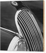 Jaguar Grille Black And White Wood Print