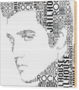 Jailhouse Rock Elvis Wordart Wood Print