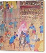 Jallikattu- The Bull Fight Wood Print