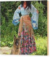 Jalma With Her Dog Ryzhko Wood Print