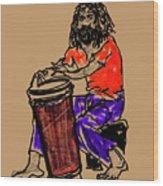Jamaican Drummer Wood Print