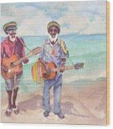Jamaican Musician Watercolor Wood Print