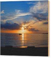 Jamaican Sunset Rays  By Steve Ellenburg Wood Print