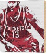James Harden Houston Rockets Pixel Art 3 Wood Print