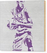 James Worthy Los Angeles Lakers Pixel Art Wood Print