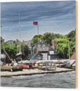Jamestown Boat Yard Wood Print