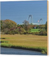 Jamestown Marsh With Pell Bridge Wood Print