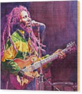 Jammin - Bob Marley Wood Print by David Lloyd Glover