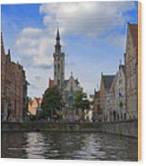 Jan Van Eyck Square With The Poortersloge From The Canal In Bruges Wood Print