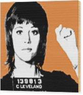 Jane Fonda Mug Shot - Orange Wood Print