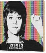 Jane Fonda Mug Shot - Rainbow Wood Print