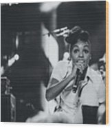 Janelle Monae Playing Live Wood Print
