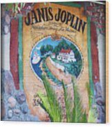 Janis Joplin In Concert Mural Wood Print