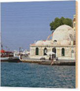 Janissaries Mosque And Caique In Chania Wood Print