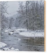 January Snow On The River Wood Print