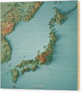 Japan 3d Render Topographic Map Border Wood Print